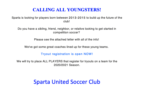 Calling all players born in 2015, 2014 and 2013
